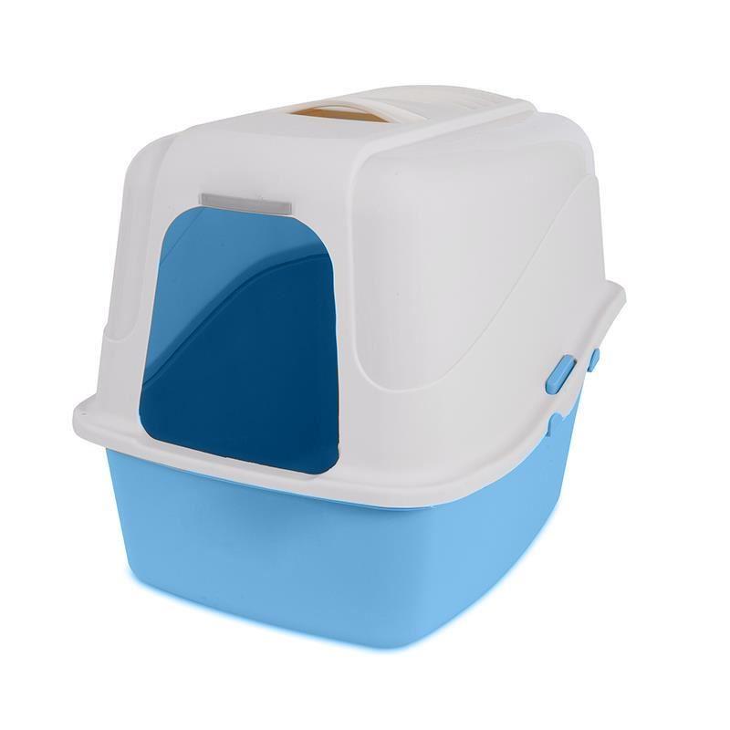 Petmate Hooded Microban Kapalı Kedi Tuvaleti Mavi