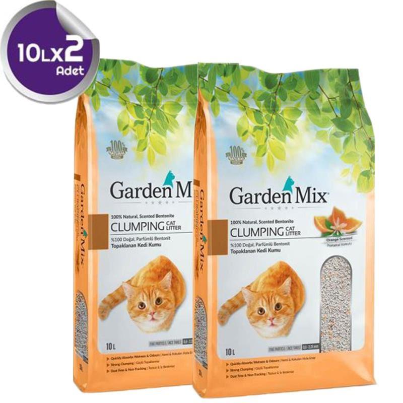 Gardenmix Bentonit Portakal Kokulu İnce Kedi Kumu 10 Lt x2