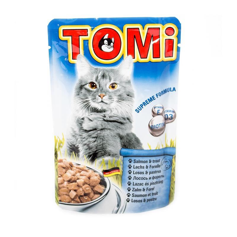 Tomi Somonlu ve Alabalıklı Yetişkin Pouch Kedi Konservesi 100 Gr
