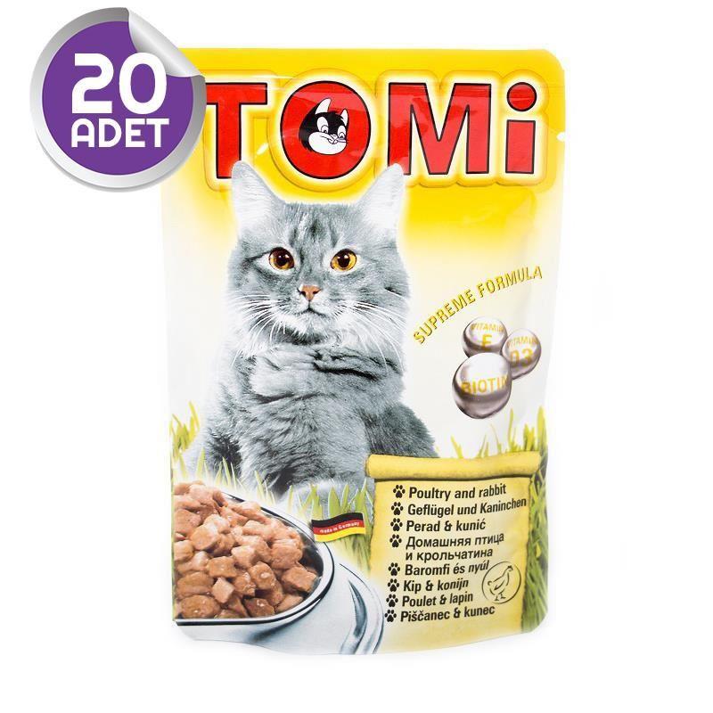Tomi Kümes Hayvanlı ve Tavşan Etli Yetişkin Pouch Kedi Konservesi 100 Gr 20 ADET