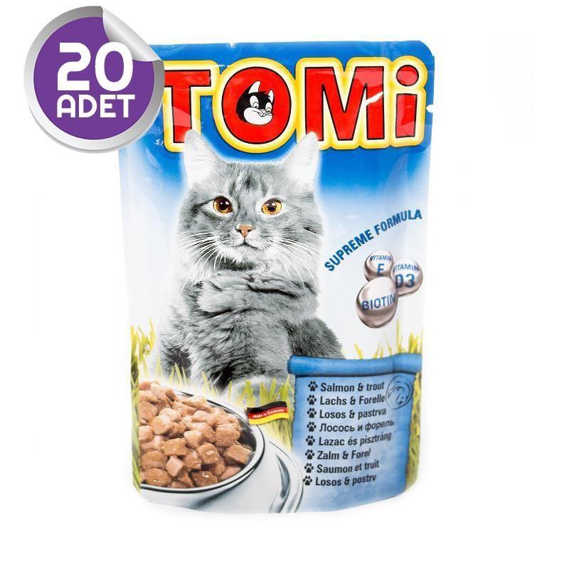 Tomi Somonlu ve Alabalıklı Yetişkin Pouch Kedi Konservesi 100 Gr 20 ADET