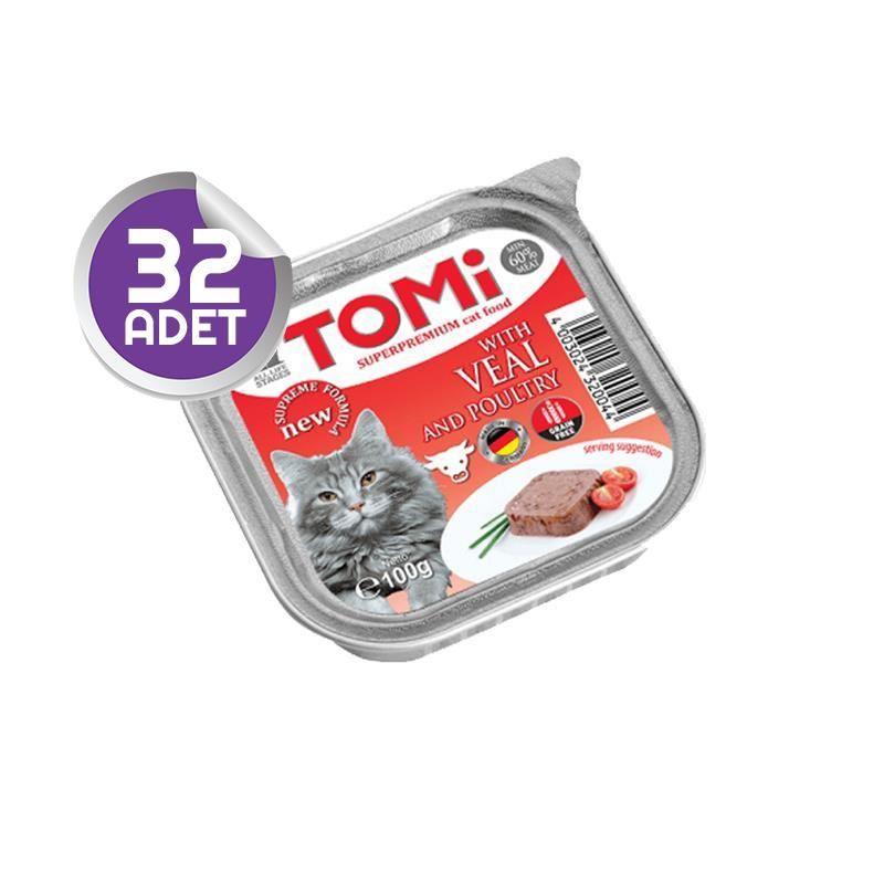 Tomi Sığır Etli ve Kümes Hayvanlı Kedi Yaş Maması 100 Gr 32 ADET