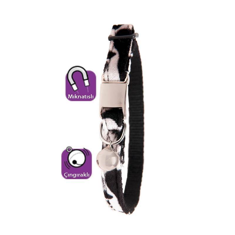 Karlie Kediler İçin Manyetik Zilli Boyun Tasması Siyah Beyaz 30 Cm