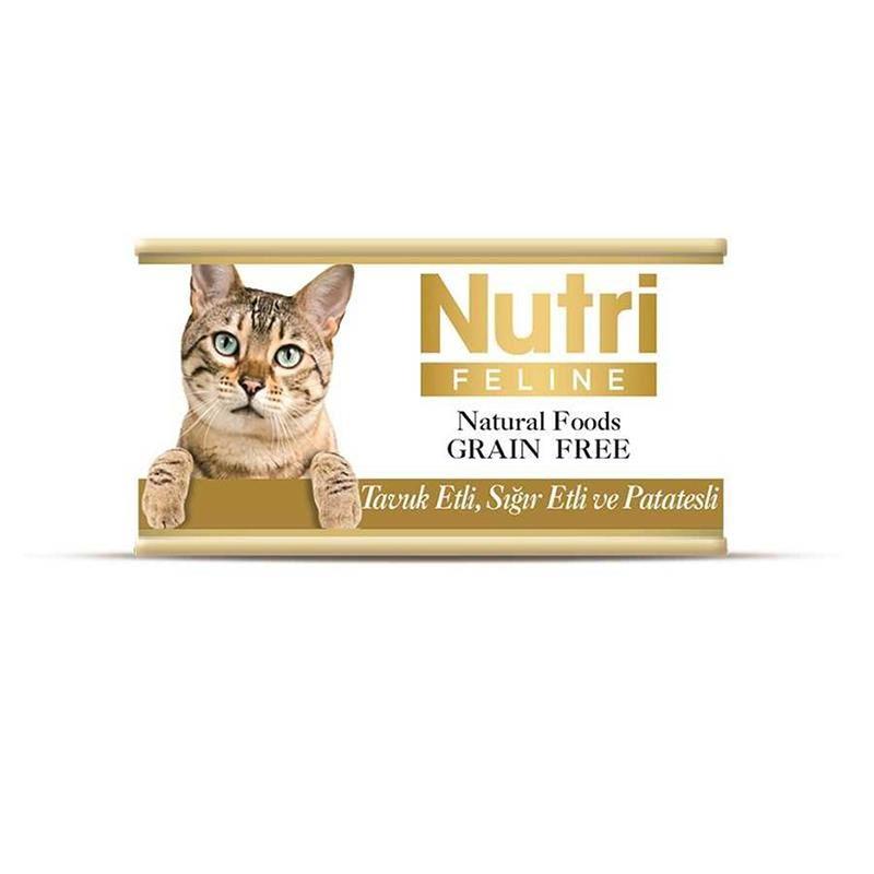 Nutri Feline Tavuklu Sığırlı ve Patatesli Tahılsız Yetişkin Kedi Konservesi 85 Gr