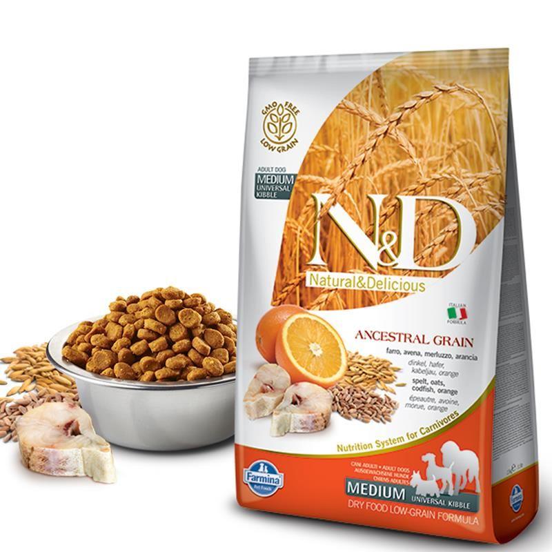 ND Düşük Tahıllı Morina Balık-Portakallı Yetişkin Köpek Maması 2,5 Kg