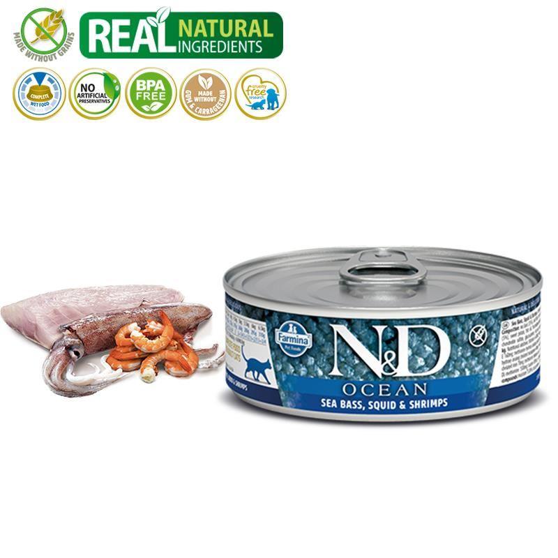 ND Ocean Tahılsız Levrek ve Mürekkep Balıklı Karidesli Yetişkin Kedi Konservesi 80 Gr