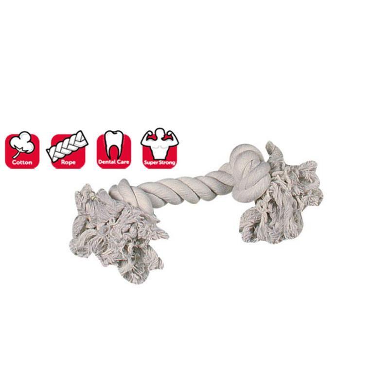 Karlie 2 Düğümlü İp Köpek Oyuncağı 35 Cm Beyaz