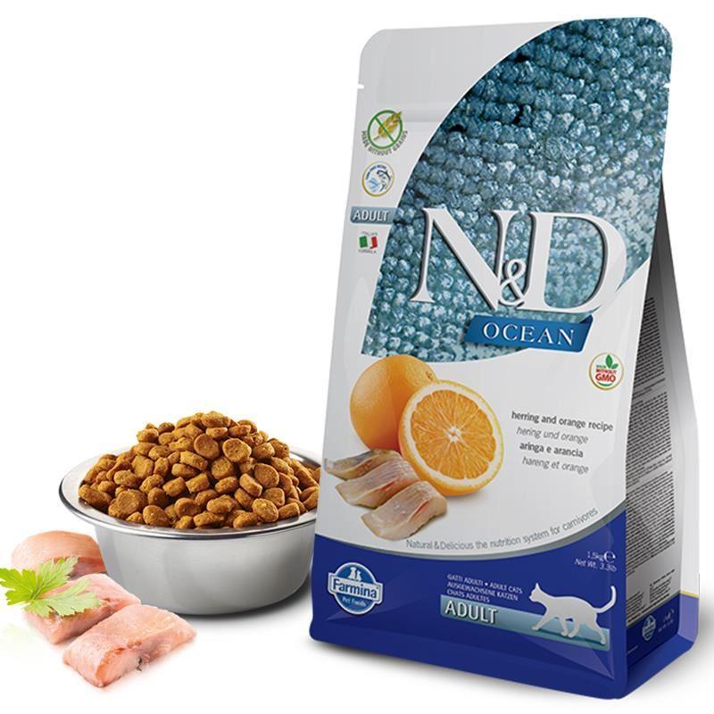 ND Ocean Tahılsız Ringa Balığı ve Portakallı Yetişkin Kedi Maması 1,5 Kg