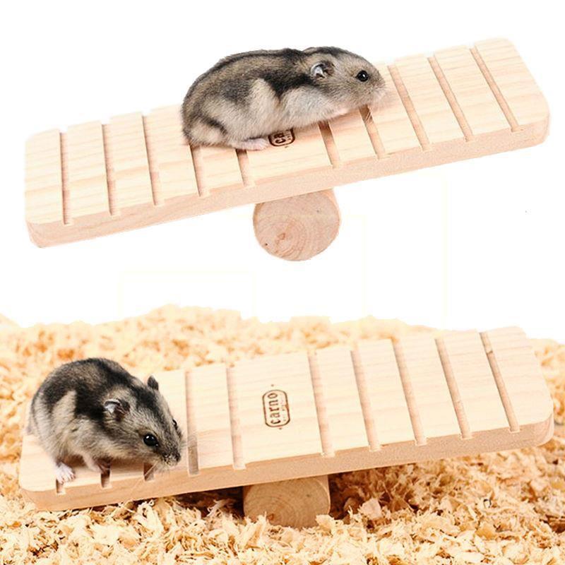 Carno Hamster Oyuncağı Naturel Ahşap Tahterevalli