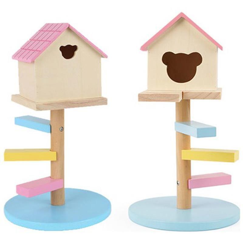 Merdivenli Hamster Evi Ahşap No 521 Pembe