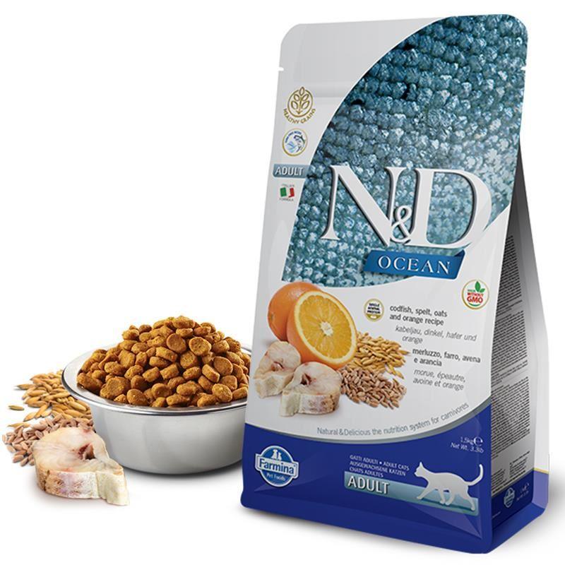 ND Ocean Düşük Tahıllı Balıklı Portakallı Kedi Maması 1,5 Kg