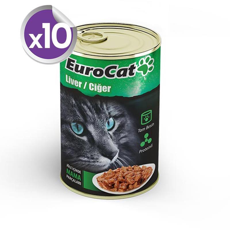EuroCat Kedi Konservesi Ciğer Etli 415 Gr X 10