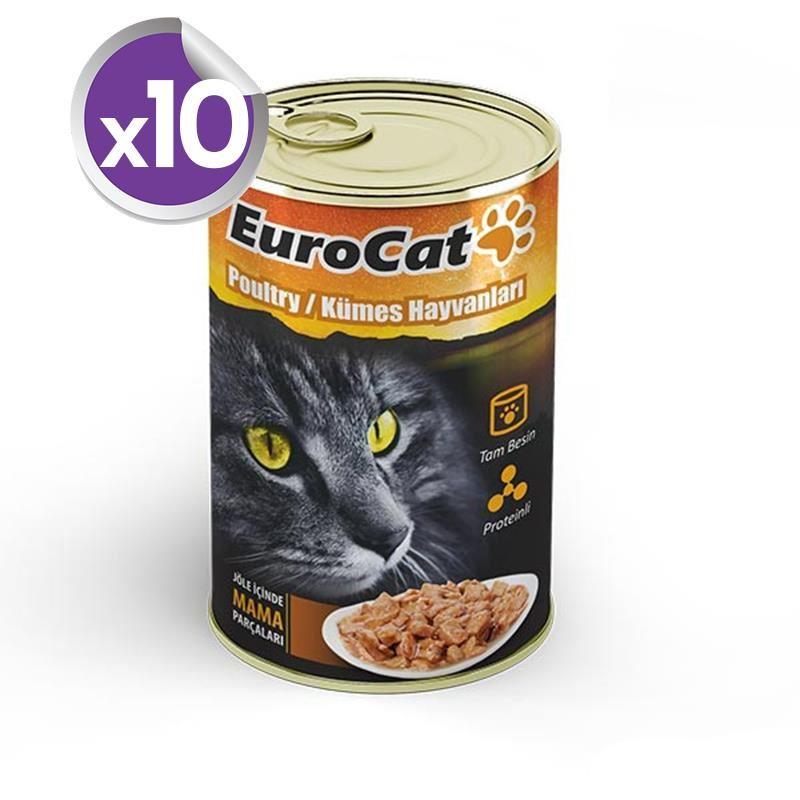 EuroCat Kedi Konservesi Kümes Hayvanlı 415 Gr X 10