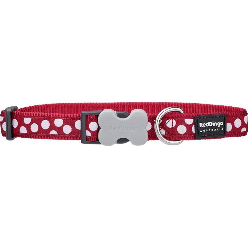 Reddingo Kırmızı Üzerine Beyaz Benekli Köpek Boyun Tasması 25 Mm