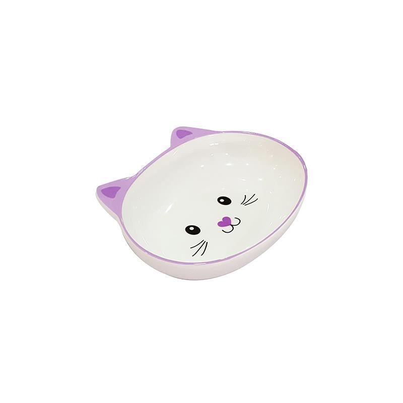 Pet Loves Melamin Mama Kabı Kedi Suratı Şeklinde Mor 300 Ml
