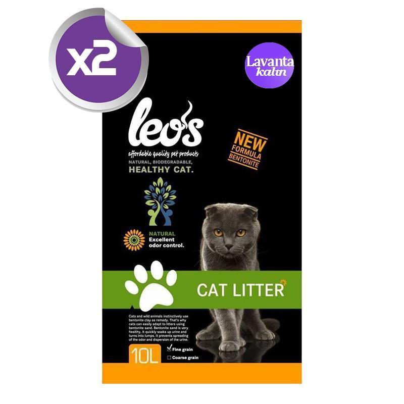 Leos Lavanta Bentonit Kedi Kumu Kalın 10 lt x2