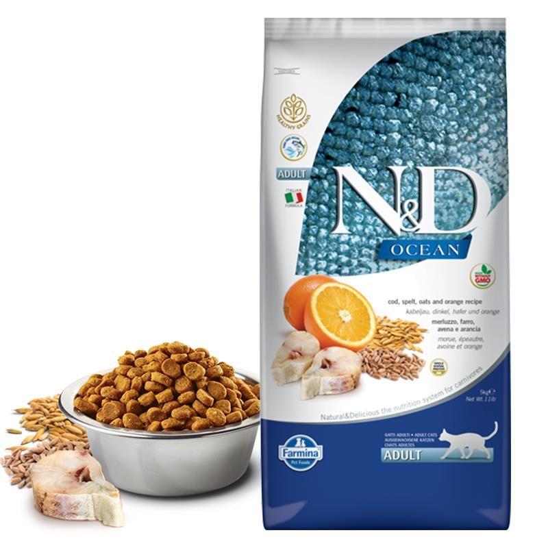 ND Ocean Düşük Tahıllı Balıklı Portakallı Kedi Maması 5 Kg