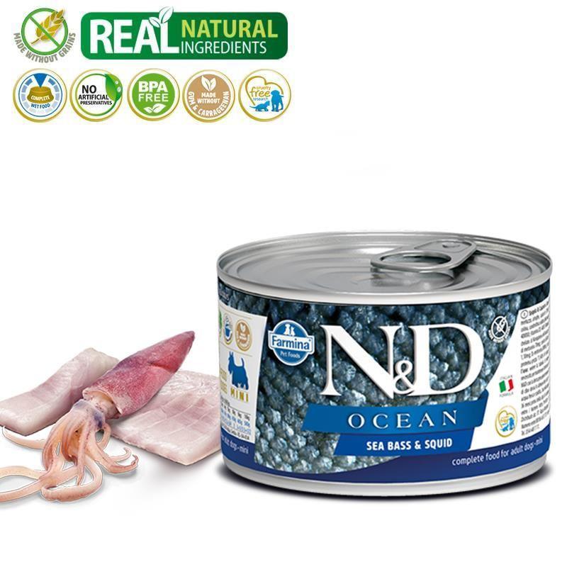 ND Ocean Mini Levrek Ve Mürekkep Balıklı Köpek Konservesi 140 Gr