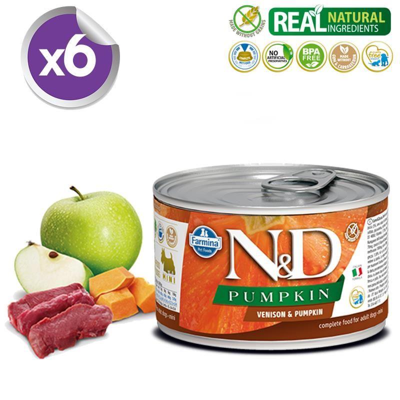 ND Pumpkin Mini Balkabaklı Geyikli Köpek Konservesi 140 Gr X 6