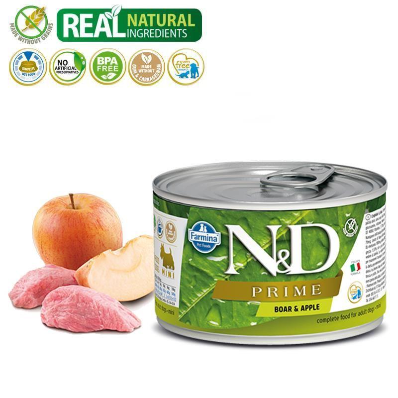 ND Prime Mini Tahılsız Yaban Domuzlu Elmalı Köpek Konservesi 140 Gr
