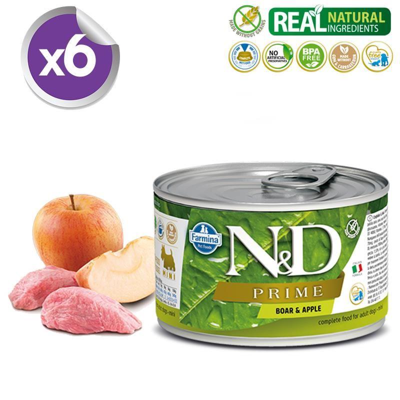 ND Prime Mini Tahılsız Yaban Domuzlu Elmalı Köpek Konservesi 140 Gr X 6