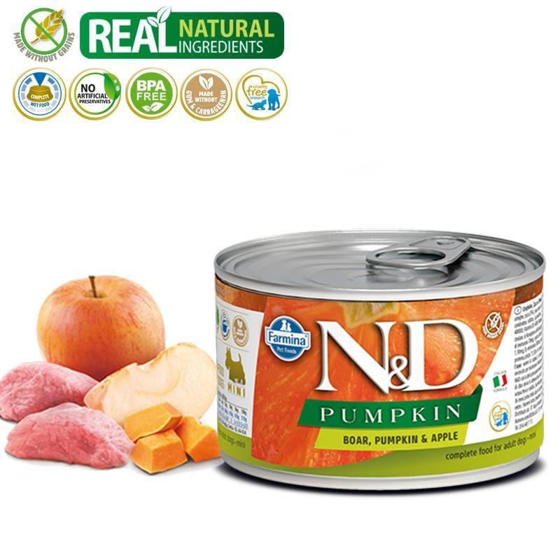 ND Pumpkin Mini Balkabaklı Yaban Domuzlu Köpek Konservesi 140 Gr