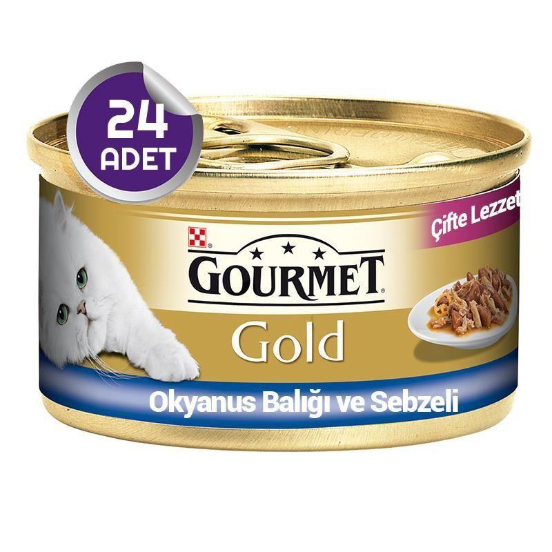 Gourmet Gold Çifte Lezzet Okyanus Balıklı ve Sebzeli Kedi Konservesi 85 gr x24