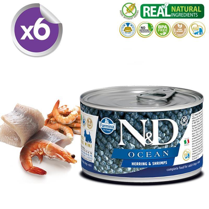 ND Ocean Mini Ringa Balıklı Karidesli Köpek Konservesi 140 Gr X 6