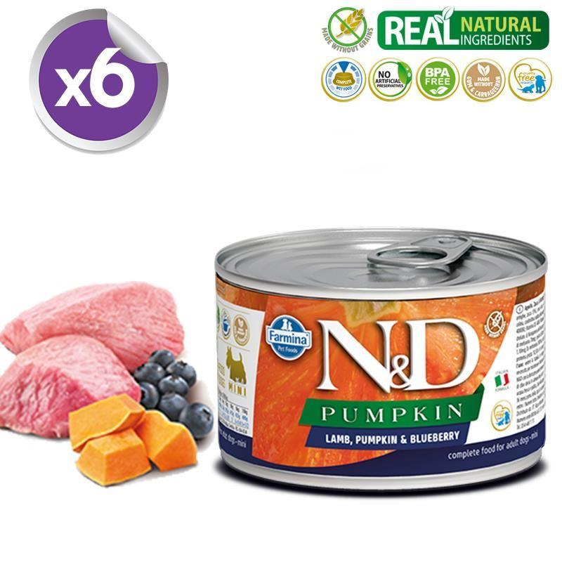 ND Pumpkin Mini Balkabaklı Kuzulu Yetişkin Köpek Konservesi 140 Gr X 6
