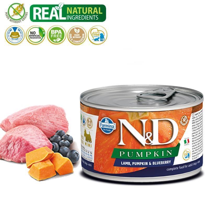 ND Pumpkin Mini Balkabaklı Kuzulu Yetişkin Köpek Konservesi 140 Gr