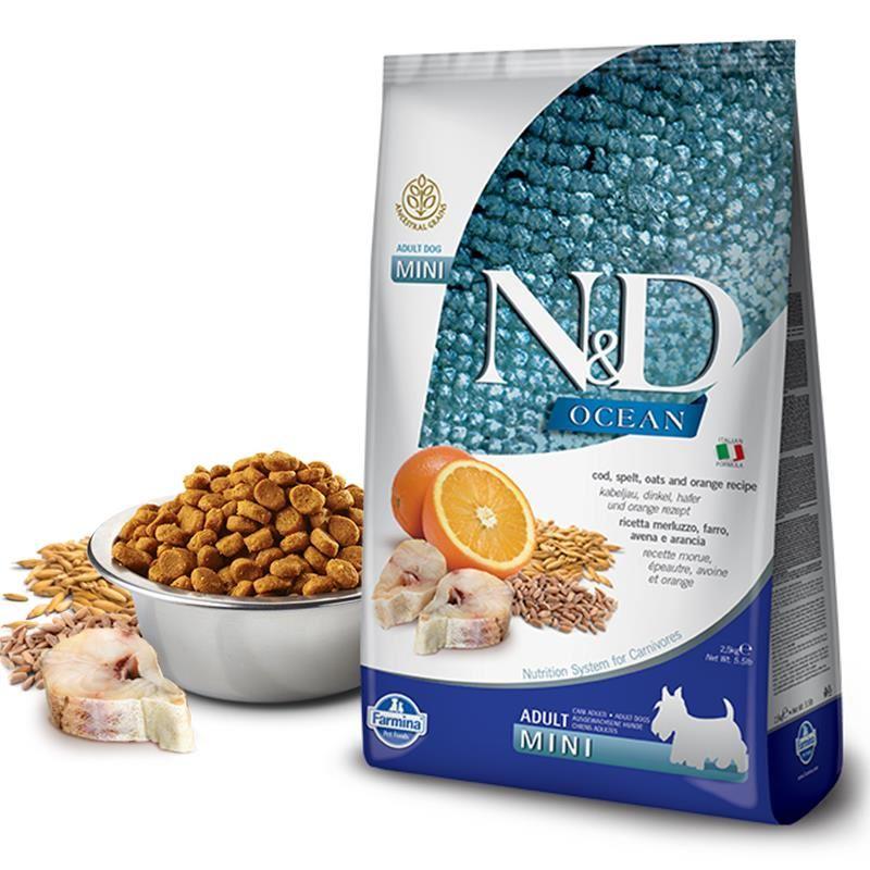 ND Ocean Düşük Tahıllı Balık Portakallı Mini Yetişkin Köpek Maması 2.5 Kg