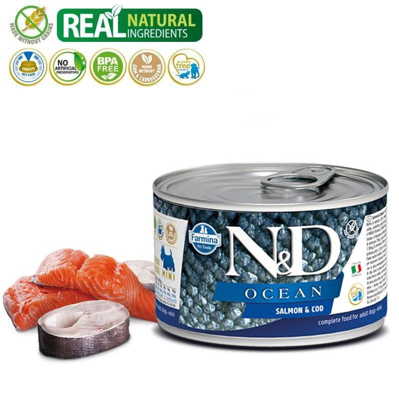 ND Ocean Mini Ringa Balıklı Karidesli Köpek Konservesi 140 Gr