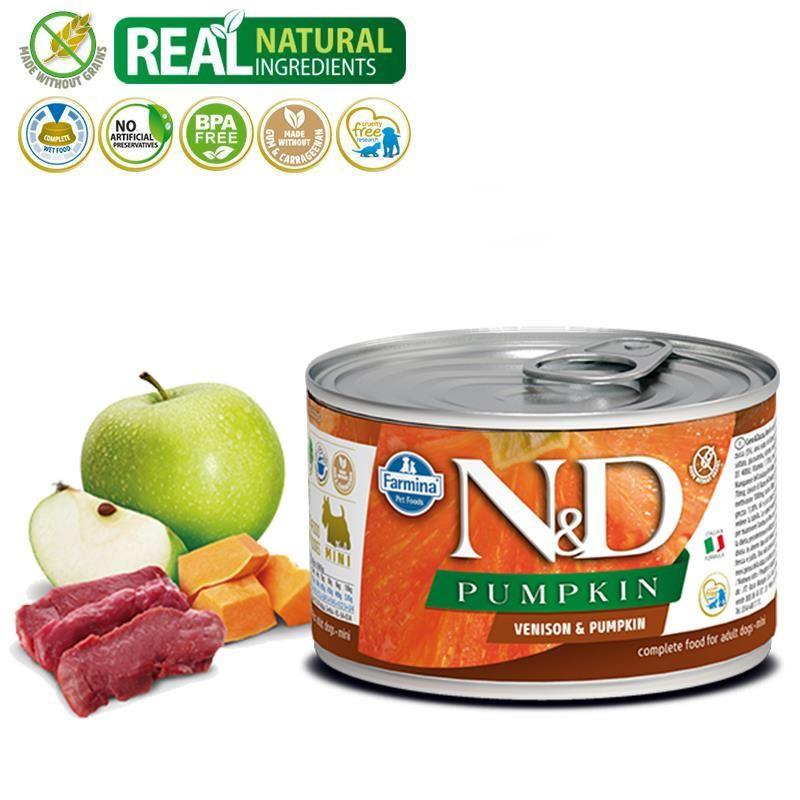 ND Pumpkin Mini Balkabaklı Geyikli Köpek Konservesi 140 Gr