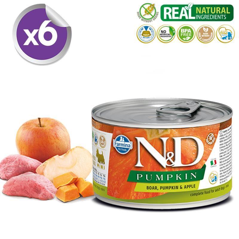 ND Pumpkin Mini Balkabaklı Yaban Domuzlu Köpek Konservesi 140 Gr X 6
