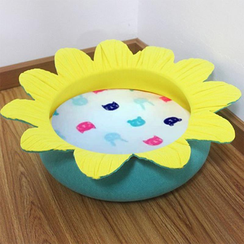 Pets Çiçek Şekilli Kedi Yatağı Turkuaz/Sarı Ø50 Cm