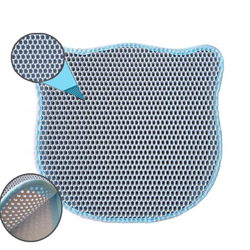 Pets Kedi Şekilli Elekli Kum Toplama Paspası Mavi 58x67 Cm