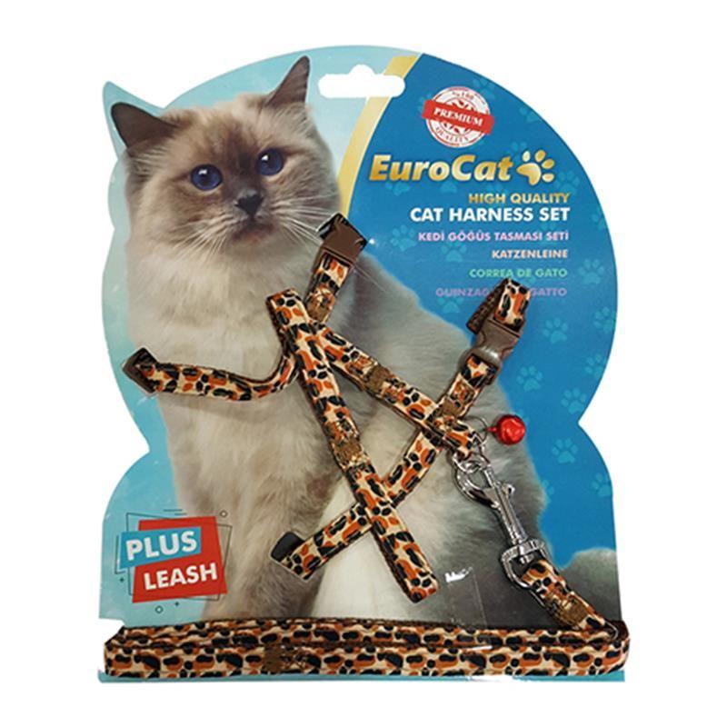 Eurocat Kedi Göğüs Tasma Seti Leopar Desenli