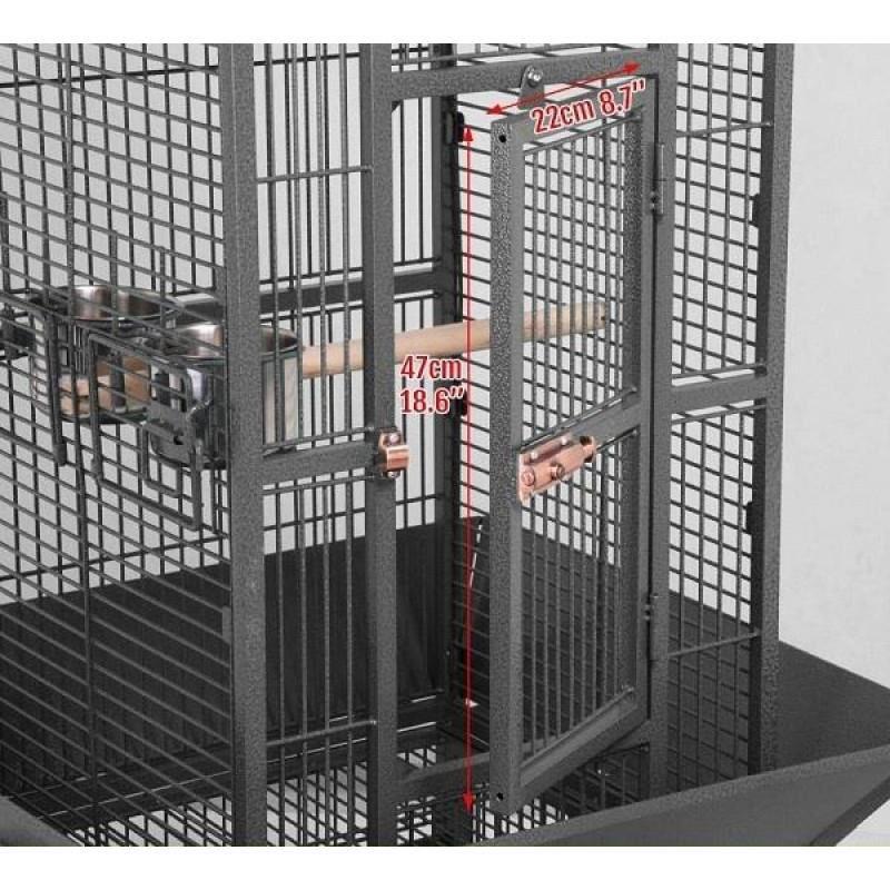 Dayang A10 Ayaklı ve Tepsili Papağan Kafesi 46 cm x 46 cm x 156 cm Siyah
