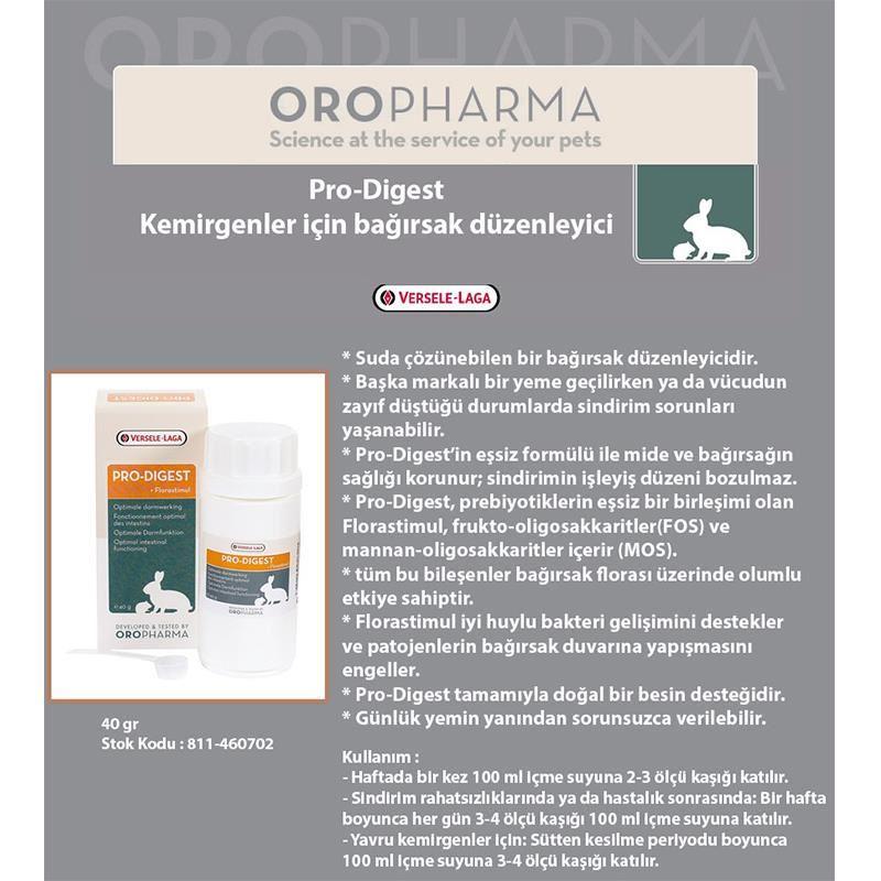 Versele Laga Pro Digest Kemirgen Bağırsak Düzenleyicisi 40 Gr