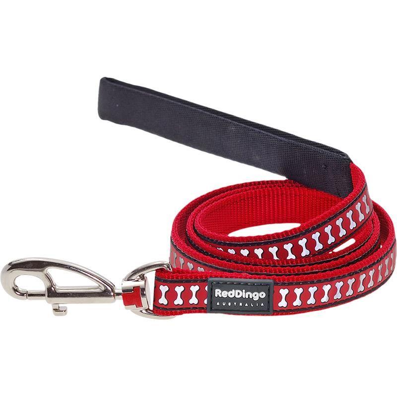 Reddingo Fosforlu Kemik Desenli Kırmızı Uzatma Köpek Tasması 12 Mm