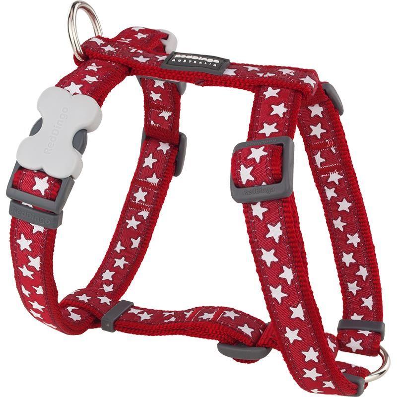 Reddingo Kırmızı Üzerine Beyaz Yıldızlı Köpek Göğüs Tasması 15 Mm