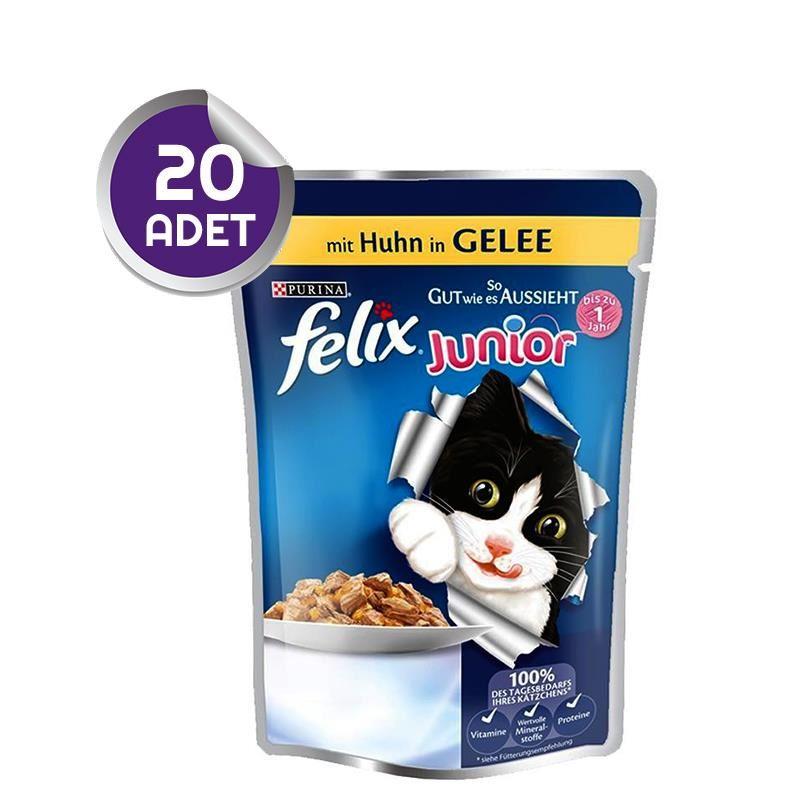 Felix Junior Tavuklu Pouch Yaş Yavru Kedi Maması 20 ADET