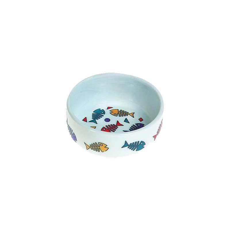 Karlie Balık Desenli Porselen Kedi Mama Kabı 290 Ml
