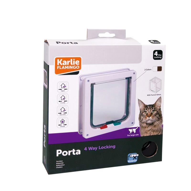 Karlie 4 Yönlü Kilitli Kahverengi Kedi Kapısı 23,5x25,2 Cm