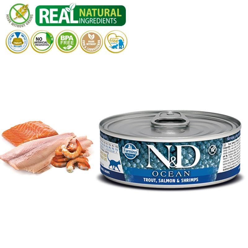 ND Ocean Tahılsız Alabalıklı,Somon ve Karidesli Yetişkin Kedi Konservesi 80 Gr