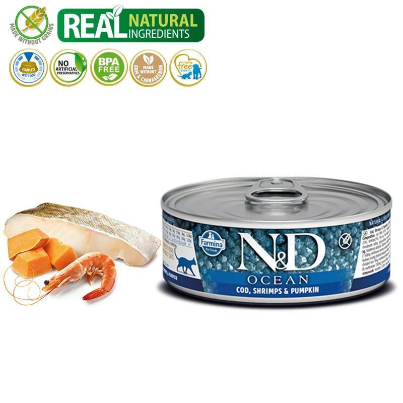 ND Ocean Tahılsız M.Balıklı Karidesli Yetişkin Kedi Konservesi 80 Gr