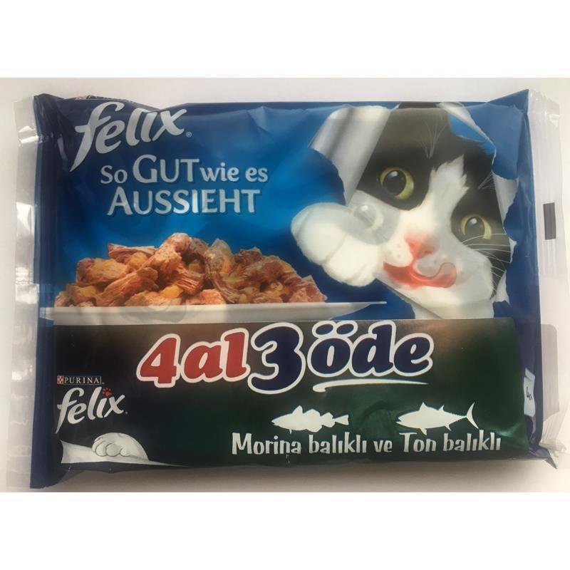 Felix Ton ve Morina Balıklı Pouch Kedi Maması x40 Adet 100 gr