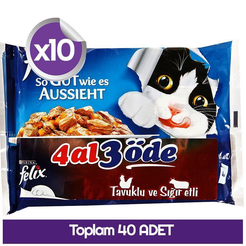 Felix Sığır Etli ve Tavuklu Pouch Kedi Maması x40 Adet 100 gr