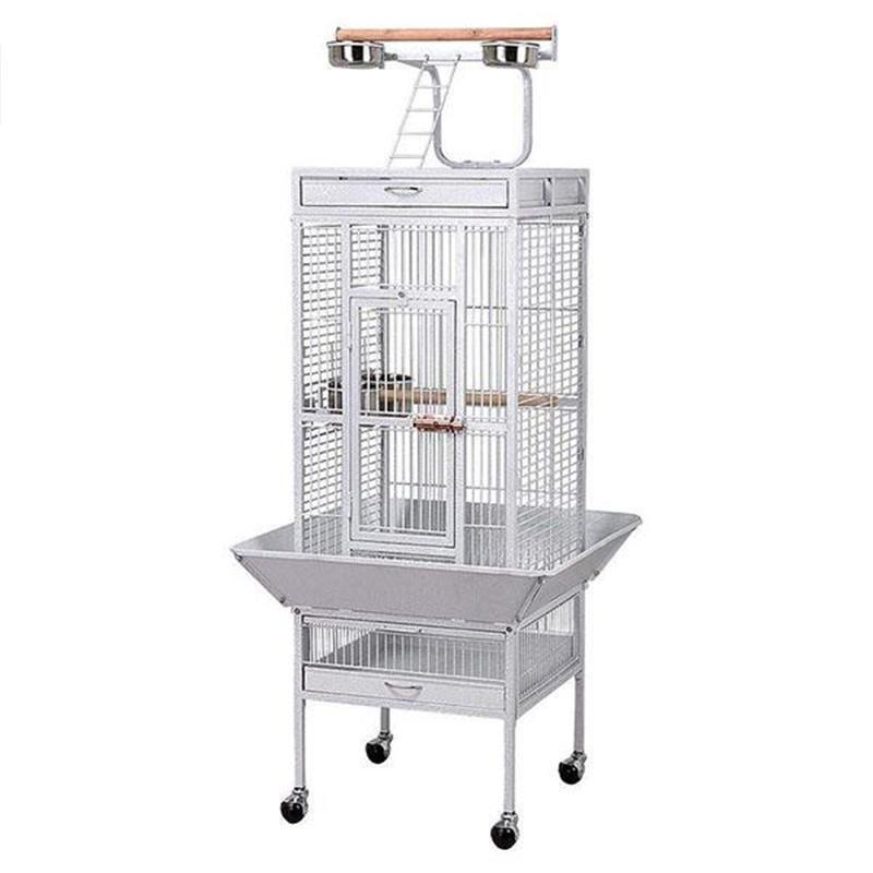 Dayang A10 Ayaklı ve Tepsili Papağan Kafesi 46 cm x 46 cm x 156 cm Beyaz