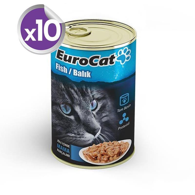 EuroCat Kedi Konservesi Balık Etli 415 Gr X 10